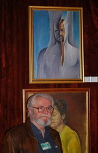mircea ciacaru langa autoportretul sau din expozitia de la Cotroceni.1