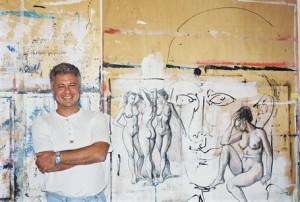 Septembre 2001 - Valentin Tanase dans son atelier La Pardalera, Elne
