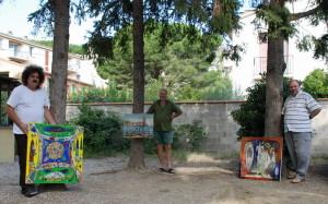 Septembre 2008 - Stefan Pelmus, Teodor Vescu et Petre Velicu, avec leurs oeuvres, résidence d'artistes, villa Clair-Logis,