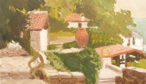 Balcic, u00EEn curtea palatului, ulei pe pu00E2nzu0103,  50X70 cm  (2)a