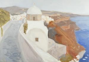 Santorini, ulei pe pu00E2nzu0103, 70X50 cm