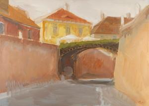 Sibiu, Podul Minciunilor, ulei pe pu00E2nzu0103, 70X50 cm