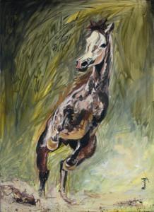 cal in 2 picioare_pictura acrilic pe panza_50 pe 70  cm_autor Alina Manole_2