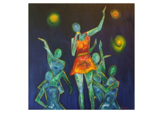 ''Space Dance'', ulei pe panza, 80x80cm, 450 euro