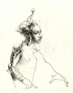 Desen  1 Arlechin creion pe carton 30x20