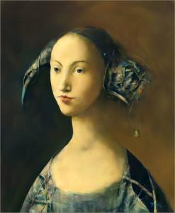 Lucrarea 4 - La Menine a la Clochette 46x38cm (acrilic pe  panza)