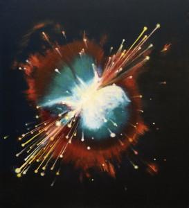 Coliziune galactica ulei panza 100x90cm